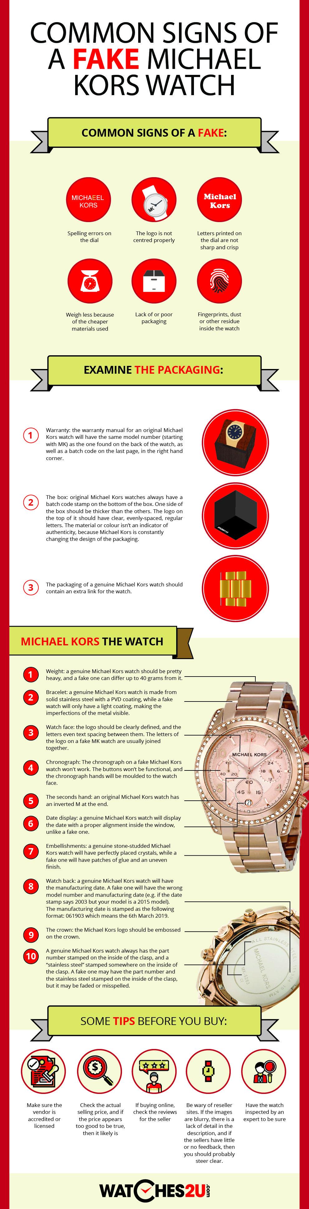 Как распознать поддельные часы Michael Kors