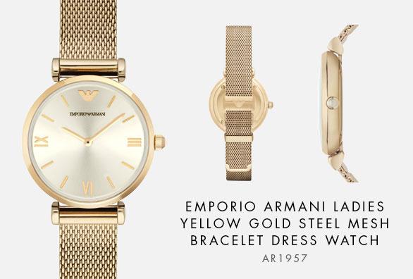 765420bff9eb AR1957 - https://www.watches2u.com/watches/emporio-armani/ar1957-ladies- yellow-gold-steel-mesh-bracelet-dress-watch.html